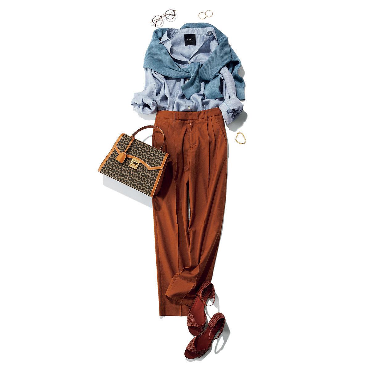 Blue×Brown 女らしいリネンシャツを主役に、好相性の配色を満喫して