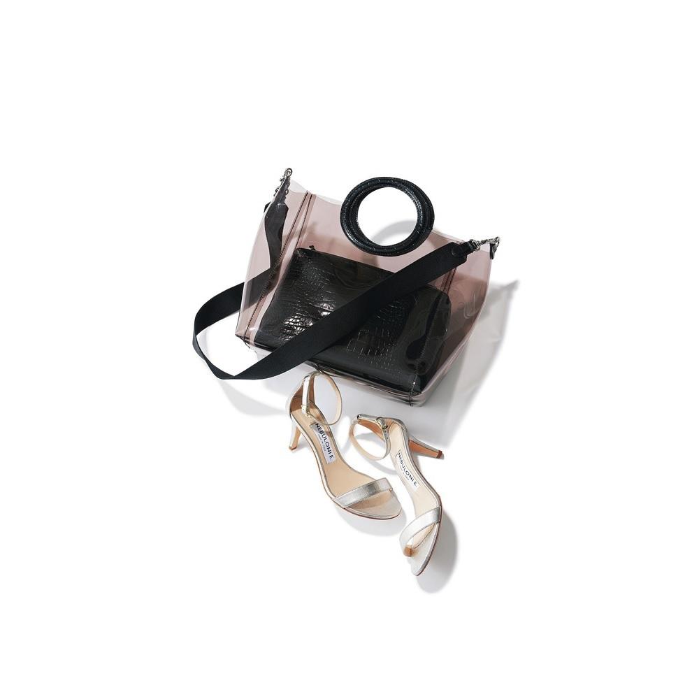 ファッション PVCバッグとシルバーサンダル