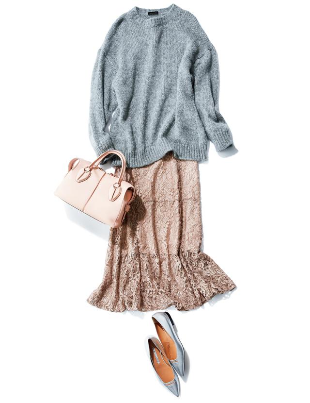 かわいげピンクはナロー系のスカートで甘さを引き算