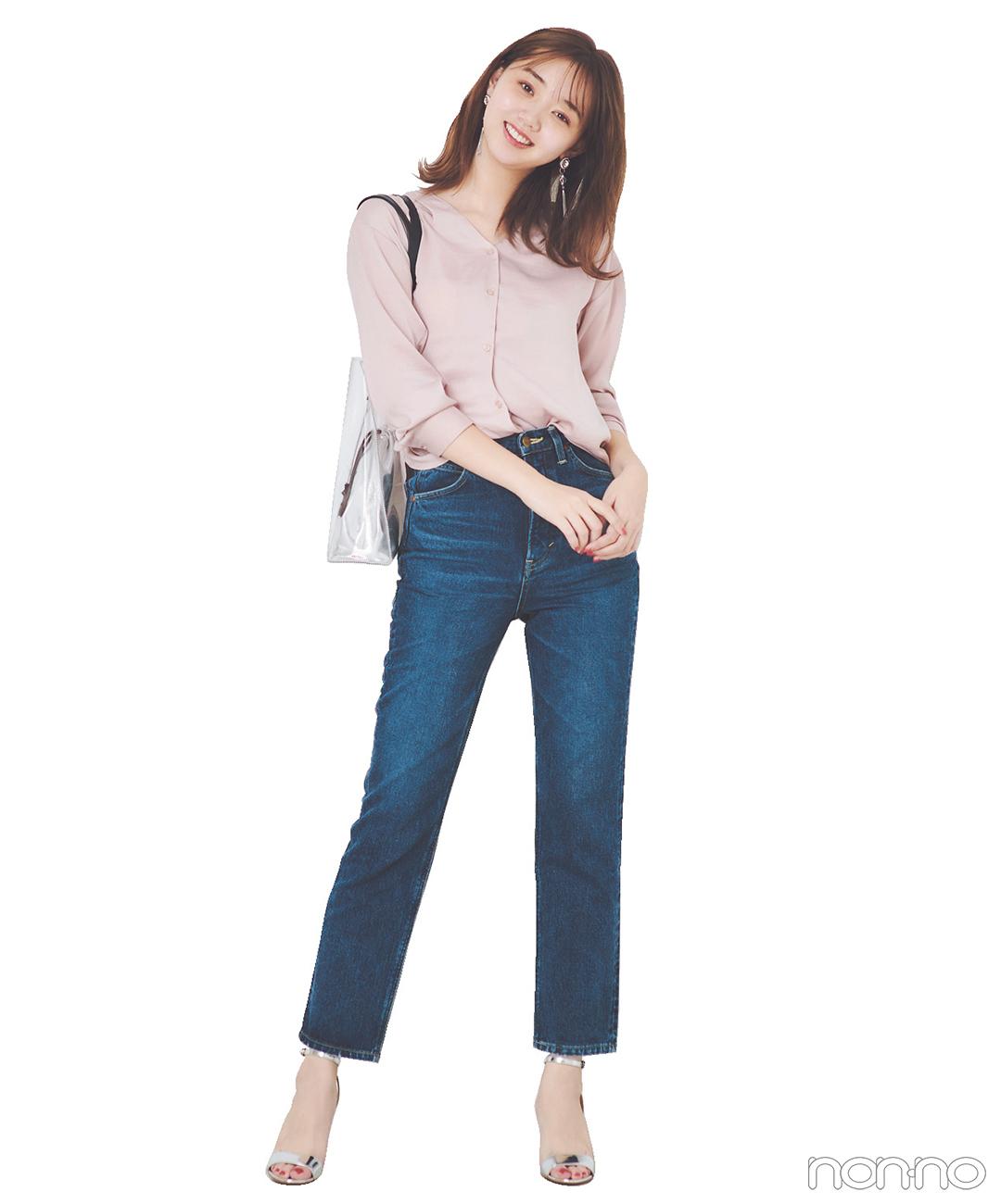 デニムコーデはくすみピンクのとろみシャツで華やぎも可愛げもオン!【毎日コーデ】_1_1