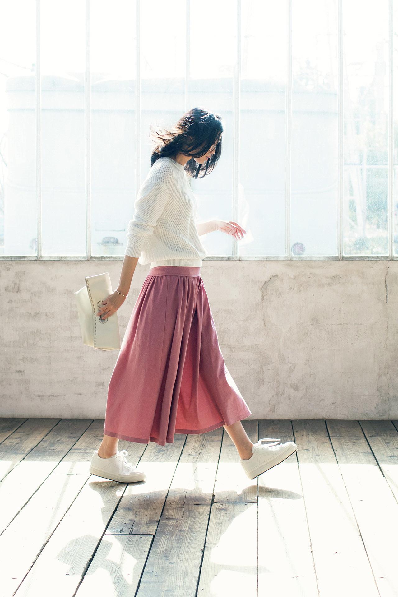 今年の大人カジュアルは「きれい色スカート×フラット靴」が新しい! 五選_1_1-2