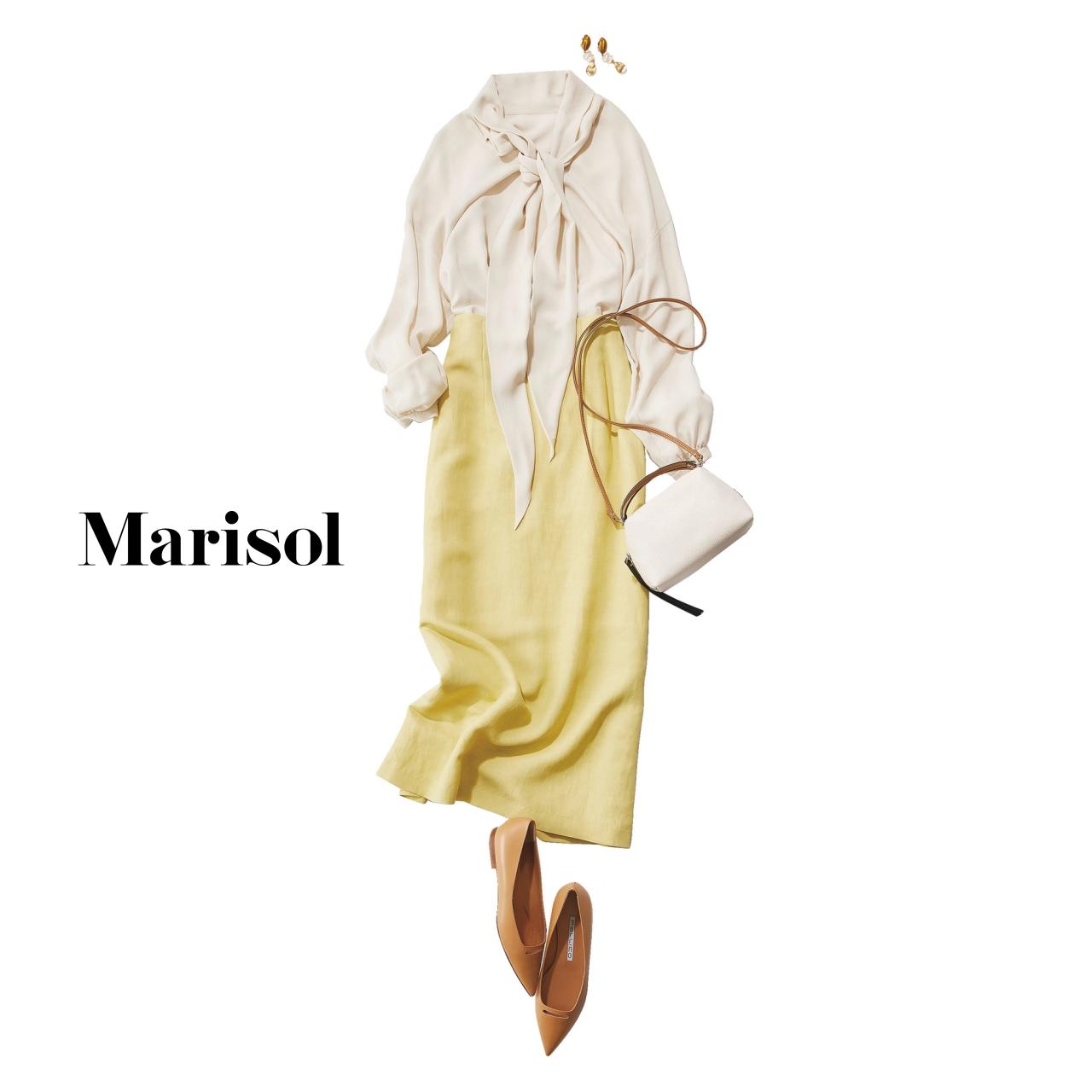 40代ファッション エレガントベージュブラウス×レモンイエロースカートコーデ