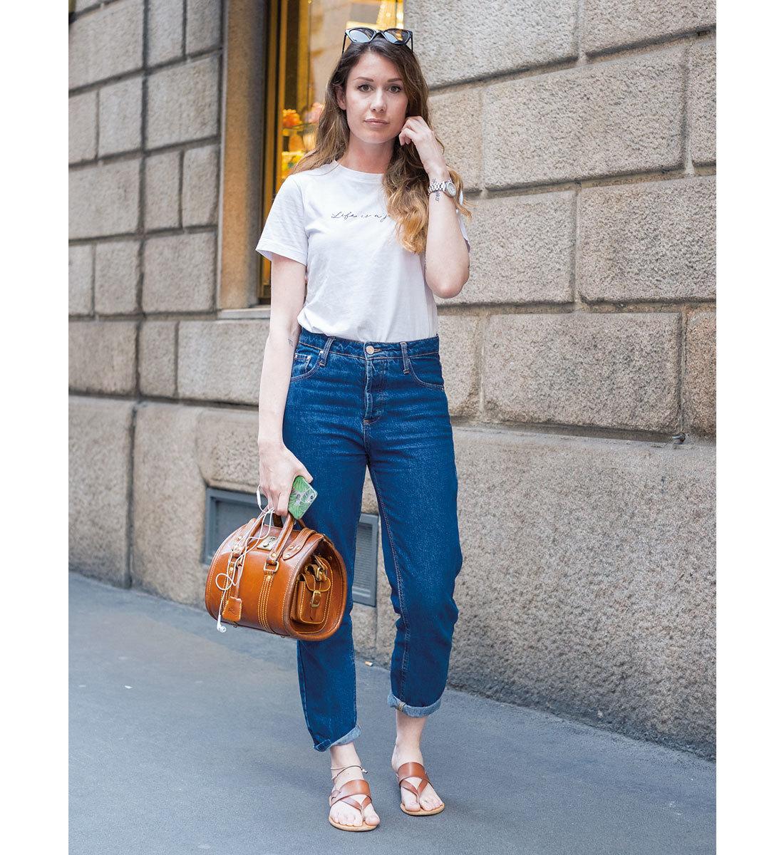 海外ファッションスナップ Tシャツコーデ6