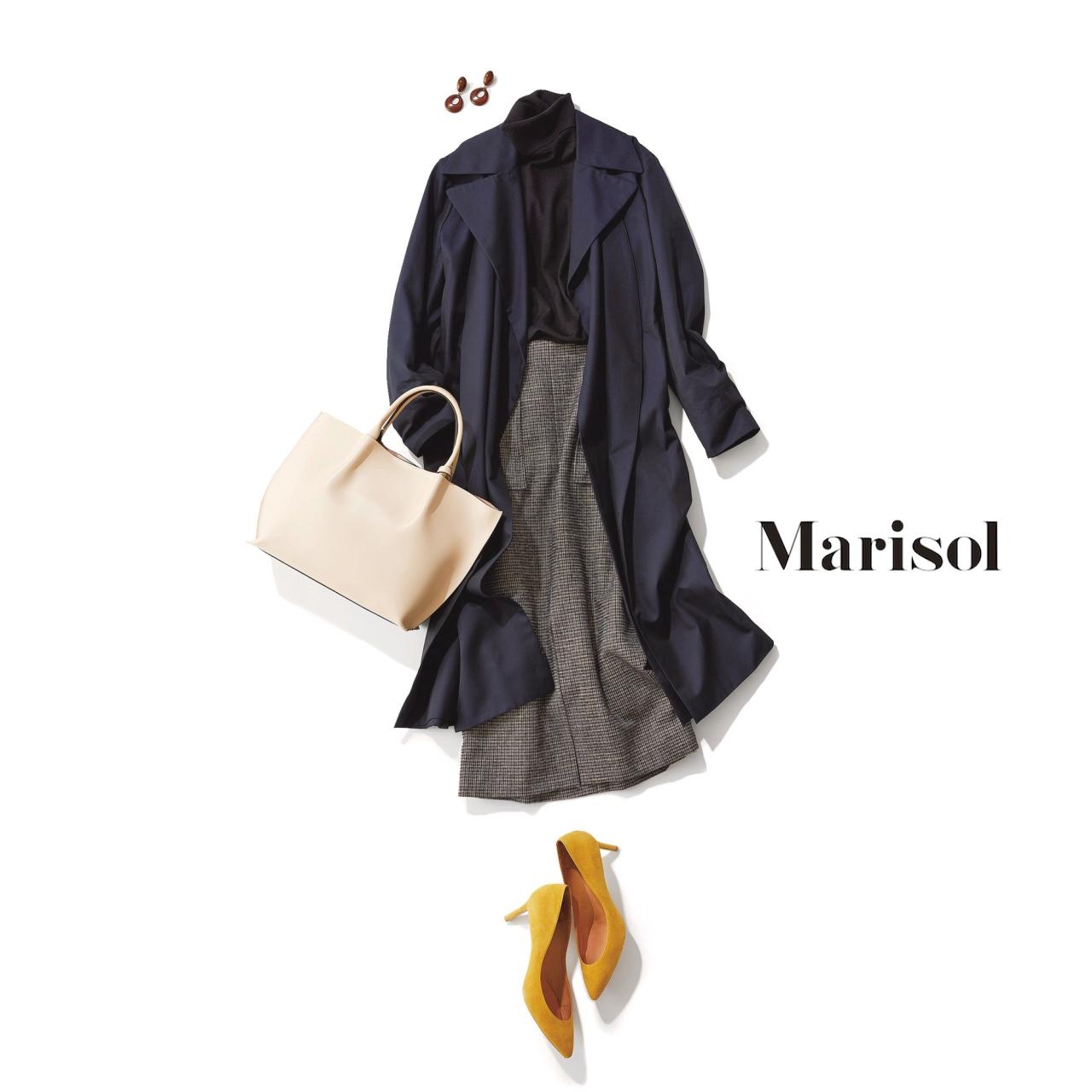 40代ファッション タートルニット×スカート×トレンチコートコーデ