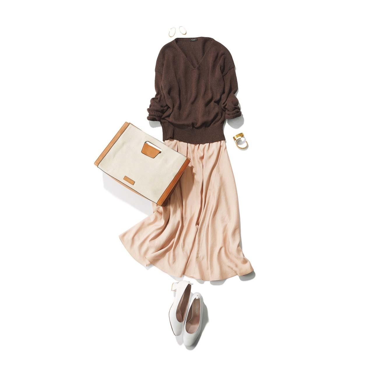 ニット×ミディ丈スカートの「スパイス ブラウン」コーデ