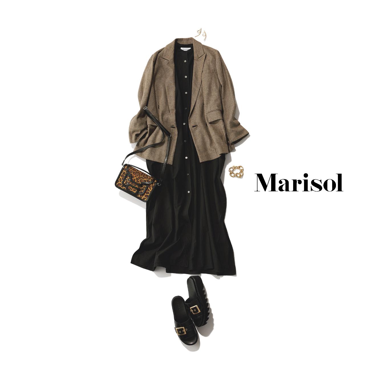 40代ファッション  黒シャツワンピース×ジャケット×サンダルコーデ