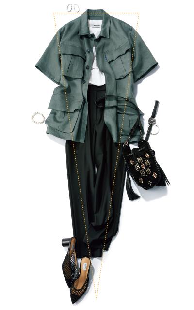 サファリジャケットとフレンチタックのパンツのコーデ