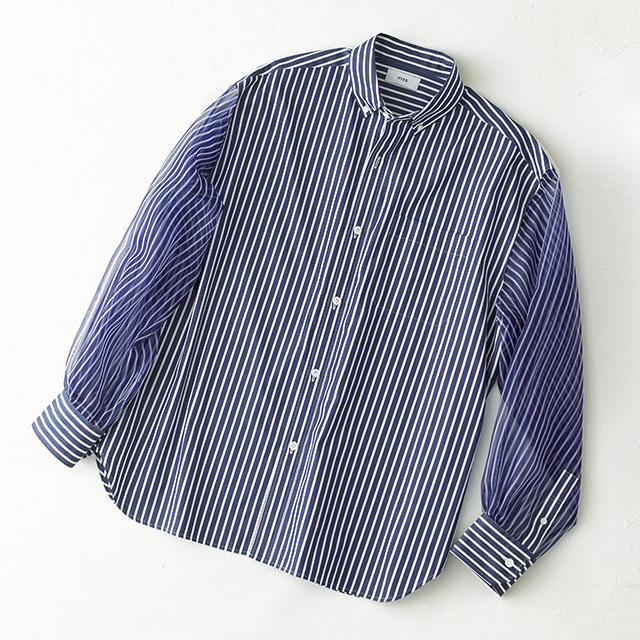 ハイクの端正なボタンダウンのストライプシャツ
