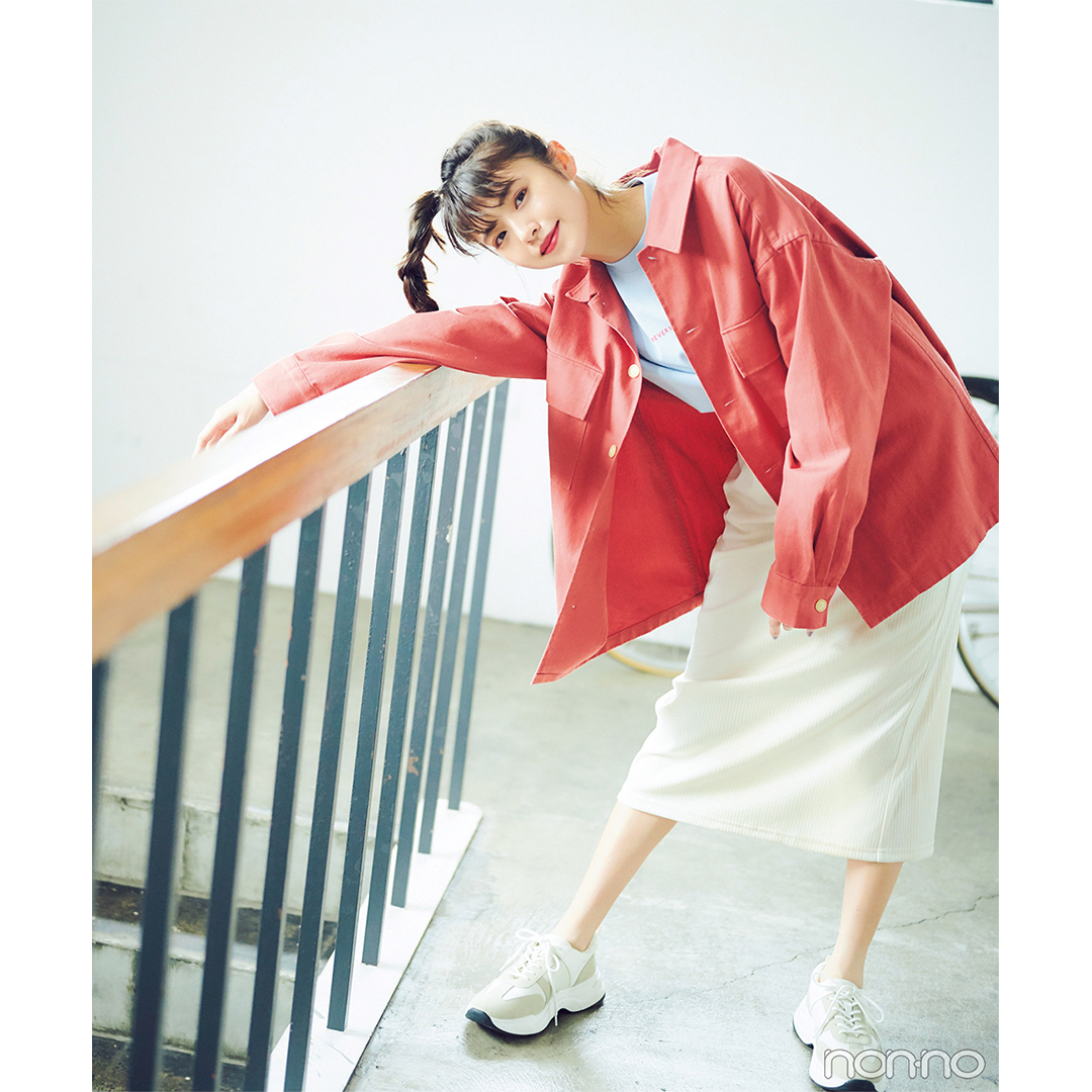 GUのメンズトップスと花柄スカートで最旬ミックスコーデ【毎日コーデ】_1_2-1