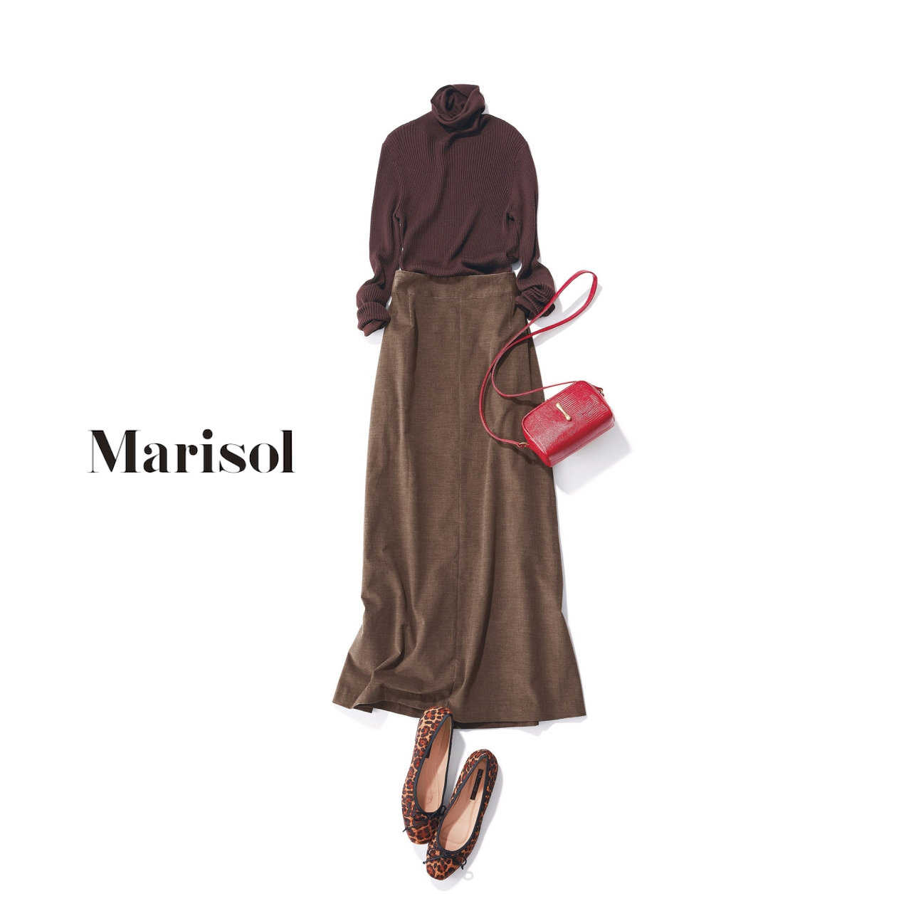 40代ファッション ブラウンタートルネックニット×ブラウンロングスカートコーデ