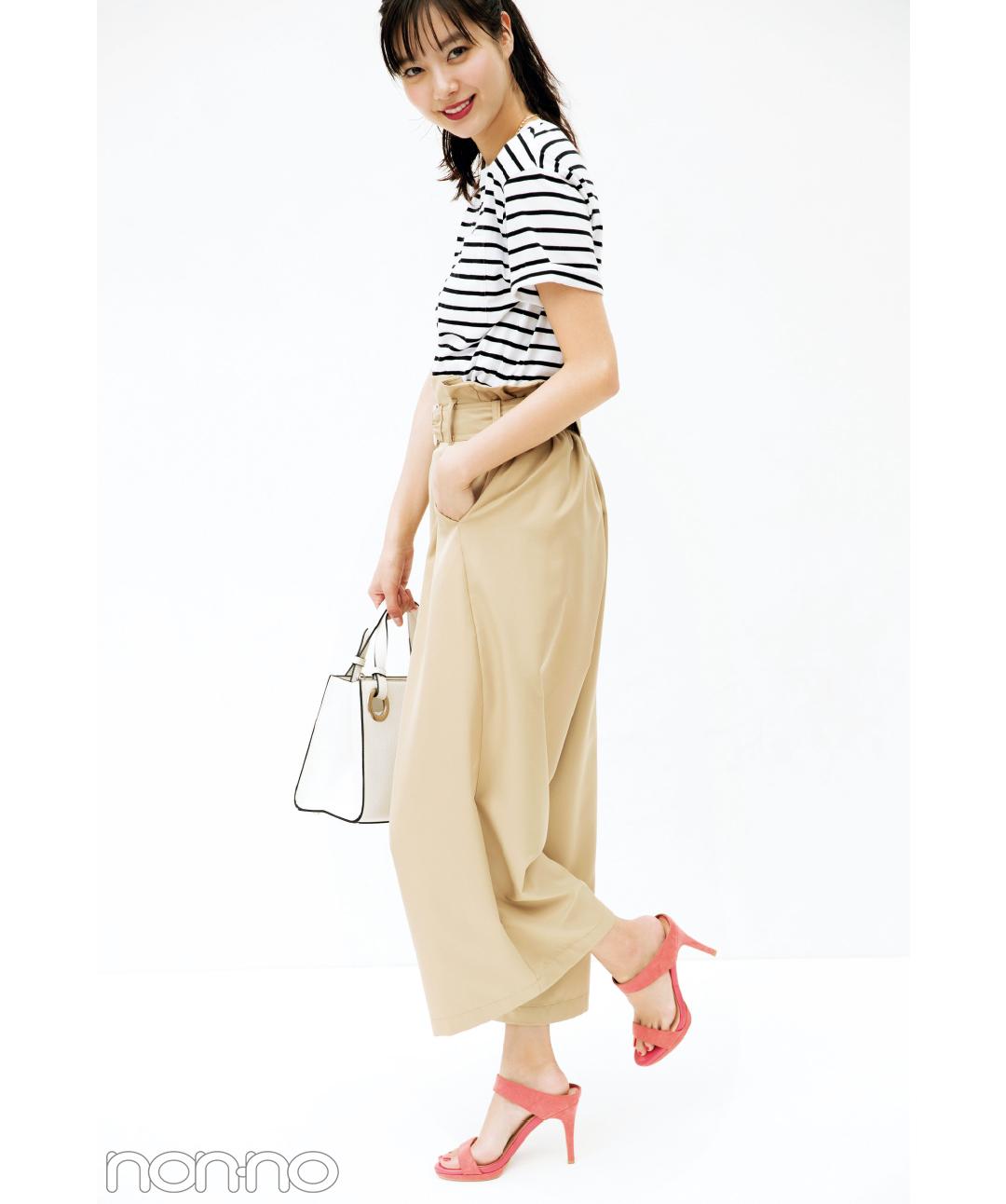 ボーダーTシャツなのに女っぽい! 新川優愛の着回しコーデ1×5_1_3-2