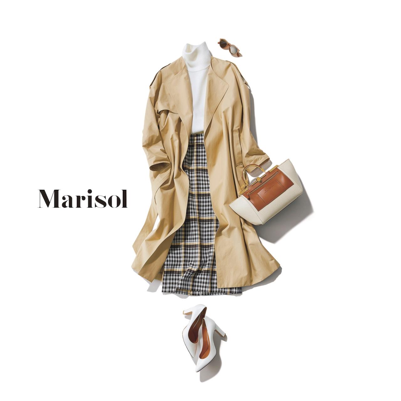 40代ファッション ゆるフェミニントレンチ×チェック柄スカートコーデ
