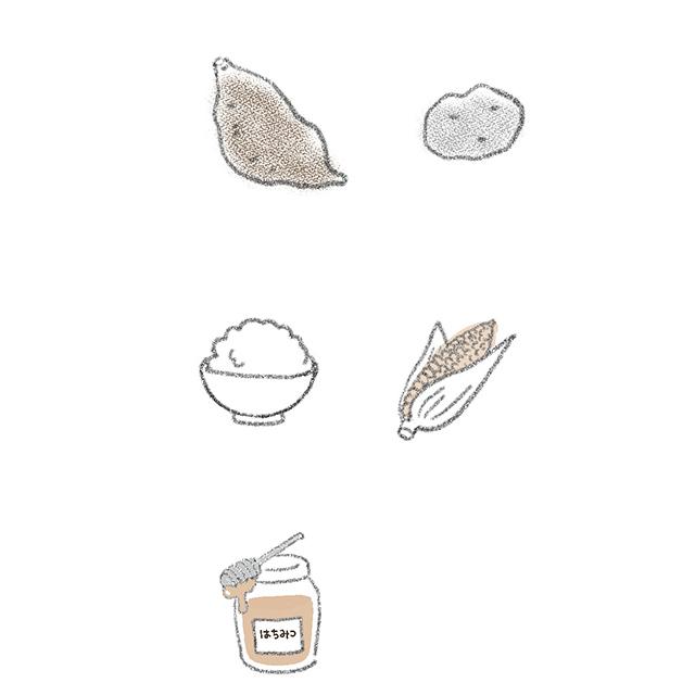 穀物、いも類、ハチミツなどの糖類