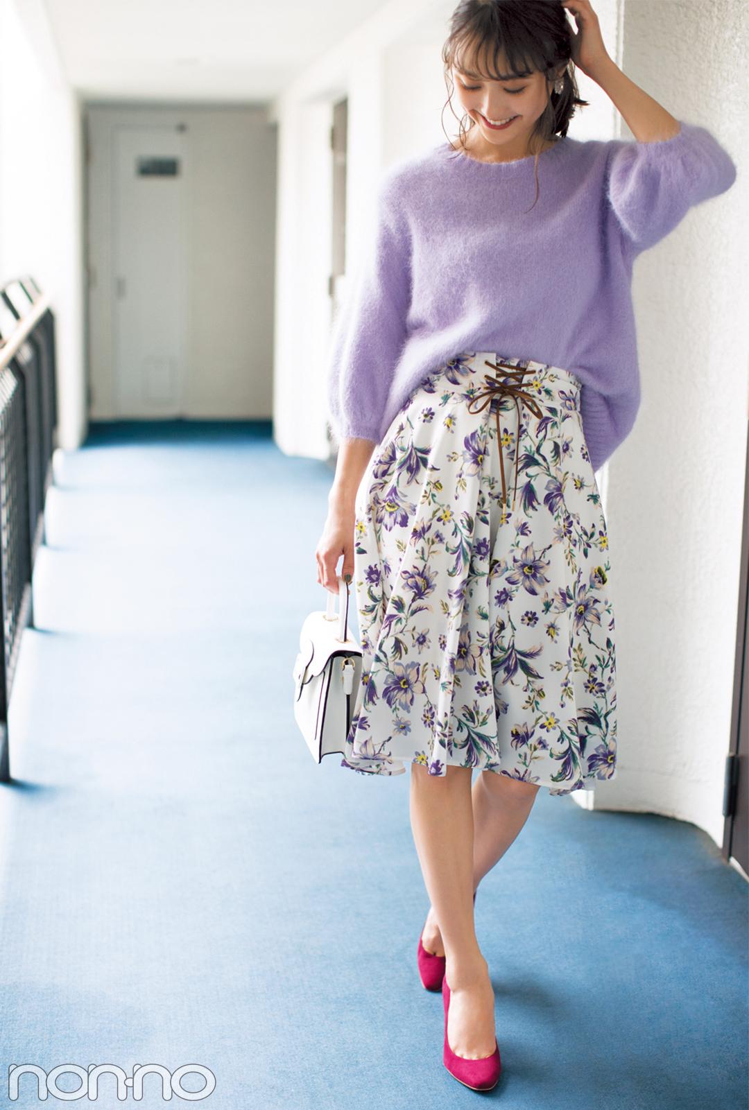 鈴木友菜が着る! この秋、絶対欲しい花柄スカート5選_1_2-2