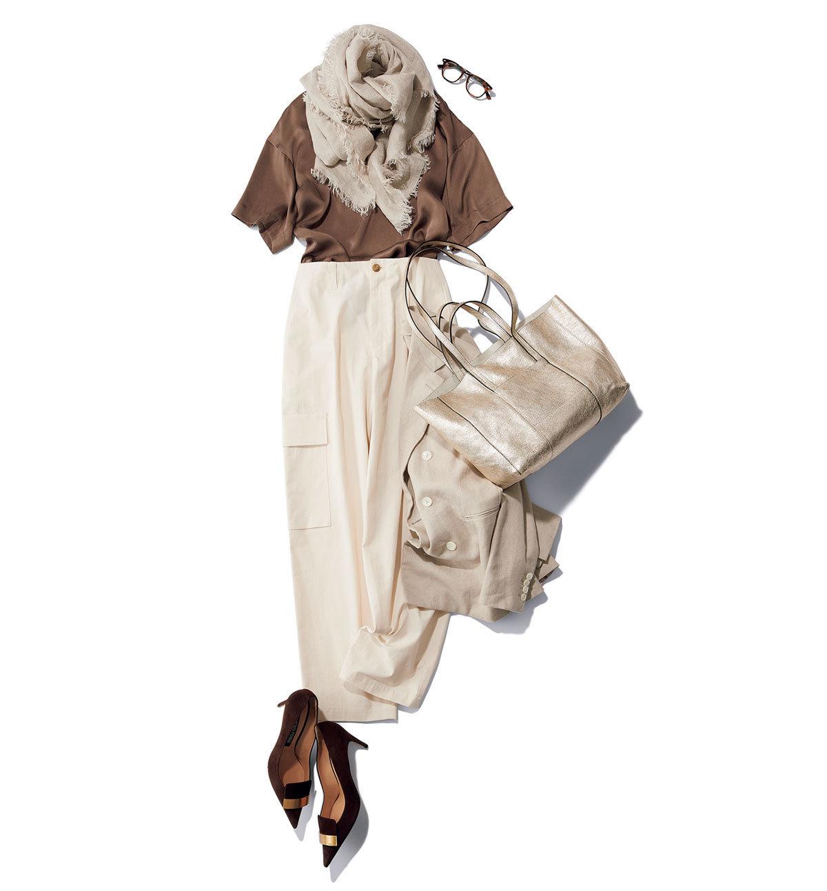 「ストール」でアラフォーの夏コーデをブラッシュアップ! 冷房対策にもおしゃれにも効くストールの取り入れ方 |40代ファッション_1_4