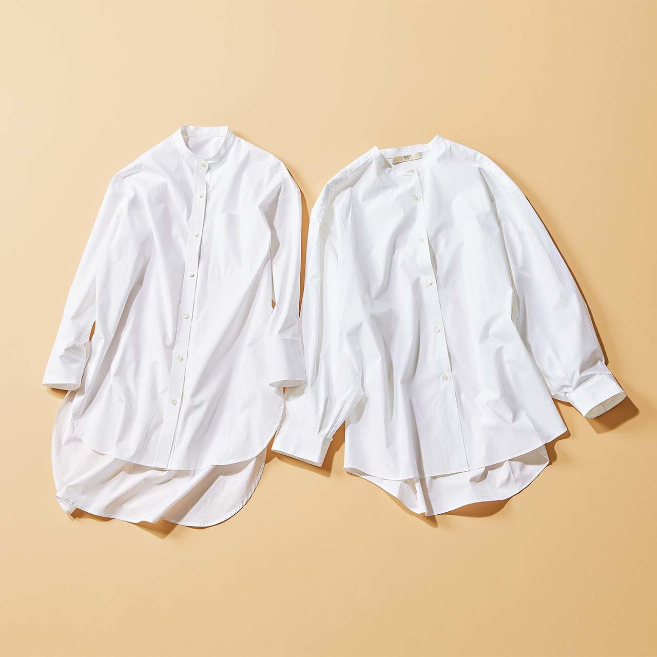バンドカラーの白シャツ2枚