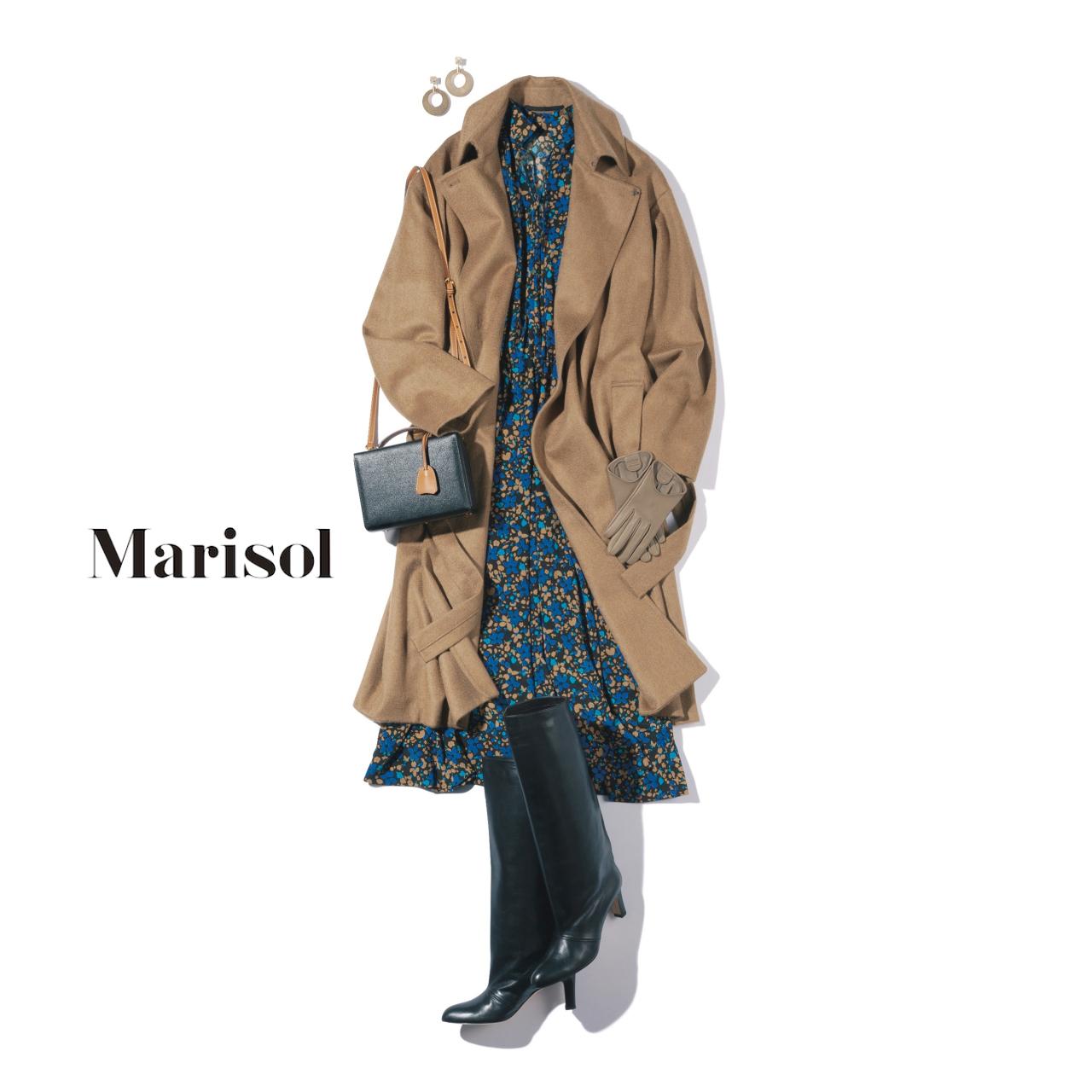 40代ファッション 花柄ワンピースb夏ロングブーツコーデ