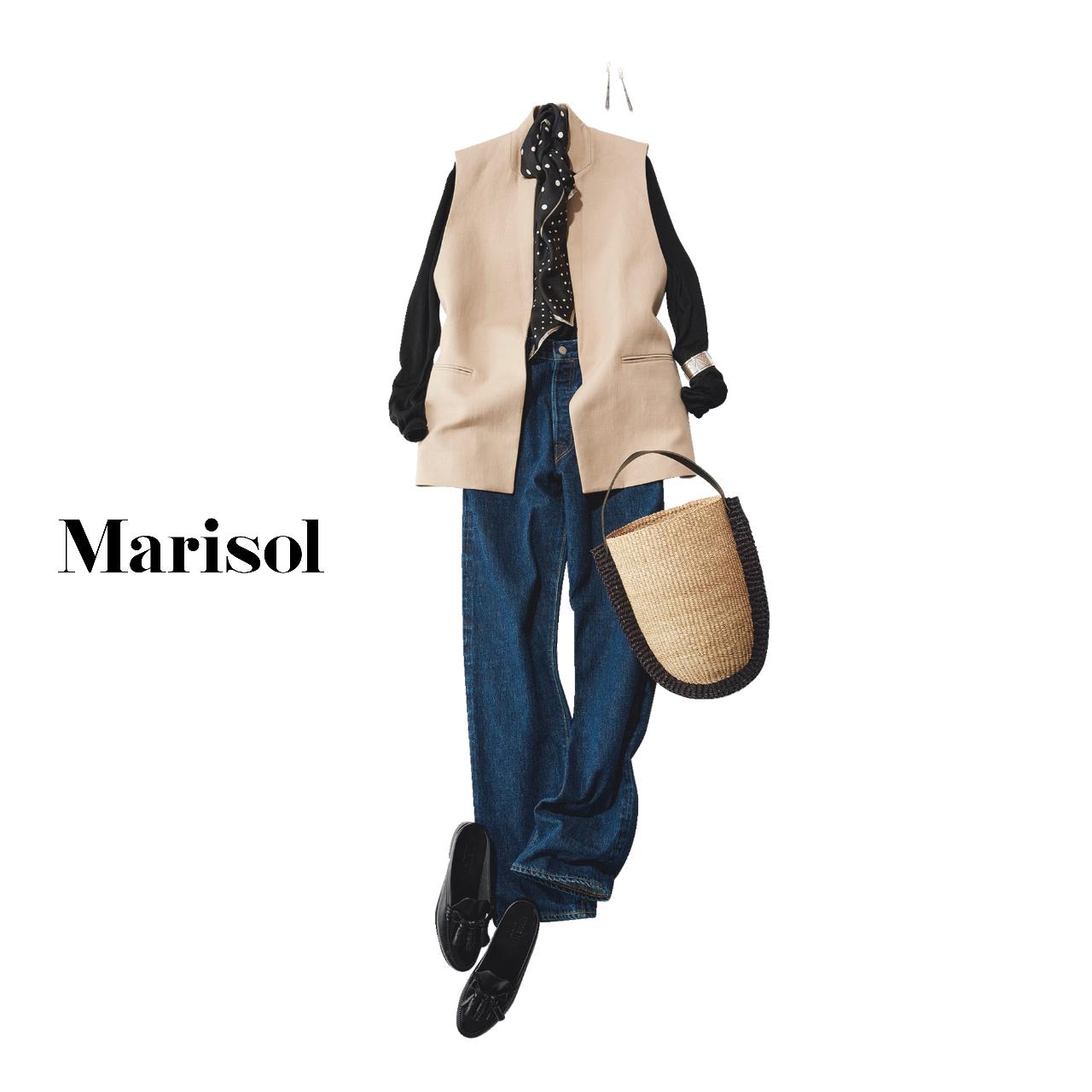 40代ファッション ニット×ジレ×インディゴデニムパンツ コーデ