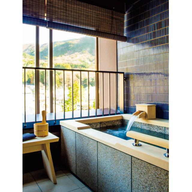 リバーサイドの客室には屋外露天風呂を設置