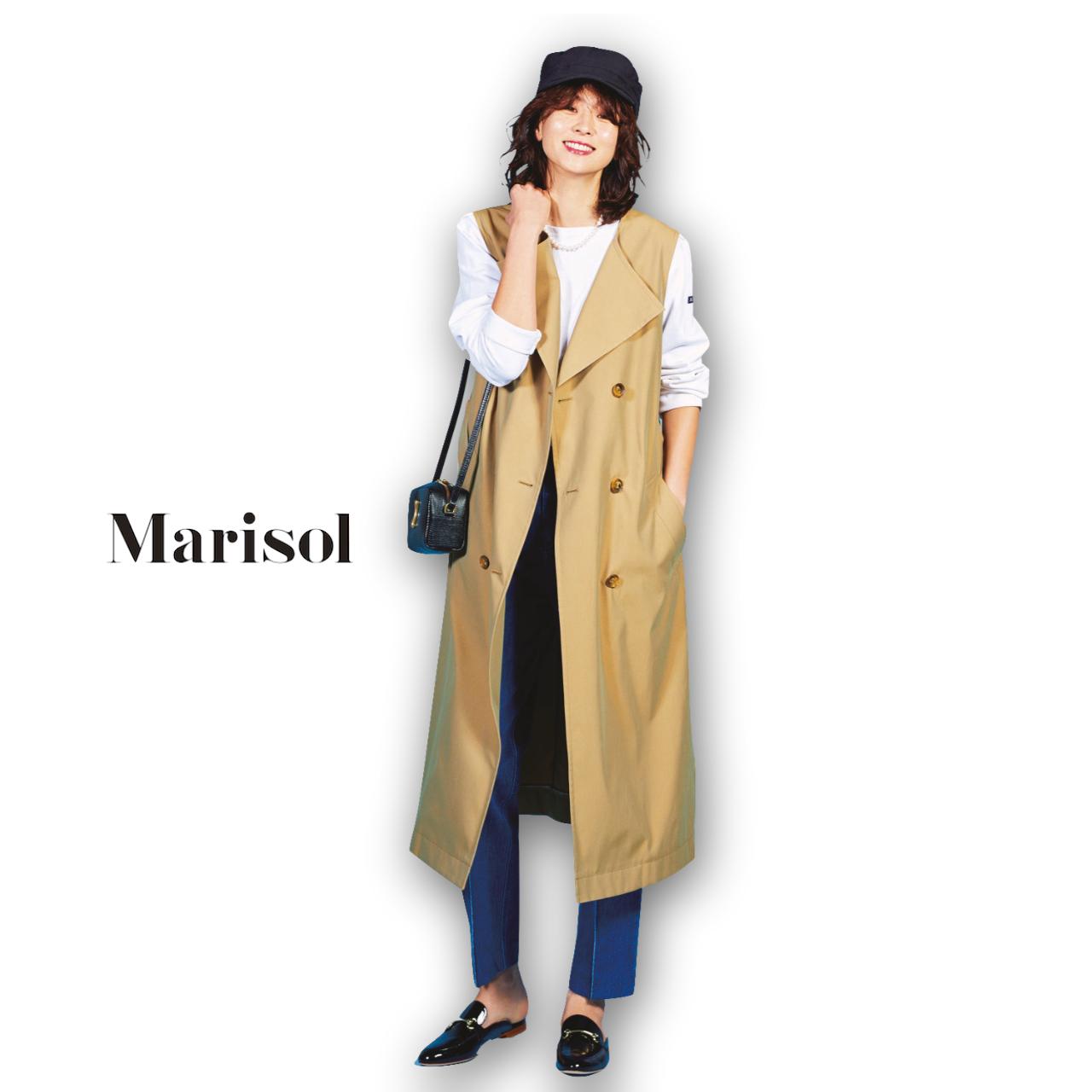 40代ファッショントレンチ風ジレ×パンツコーデ
