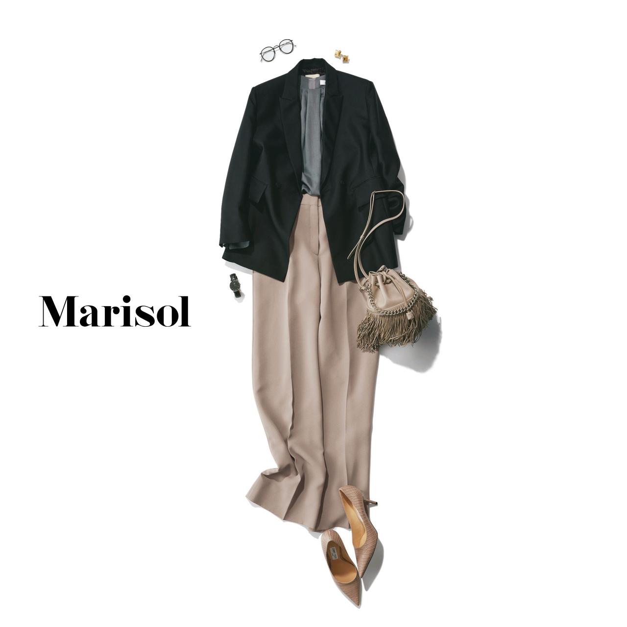 40代ファッション ジャケット×ワイドパンツ×パンプスコーデ