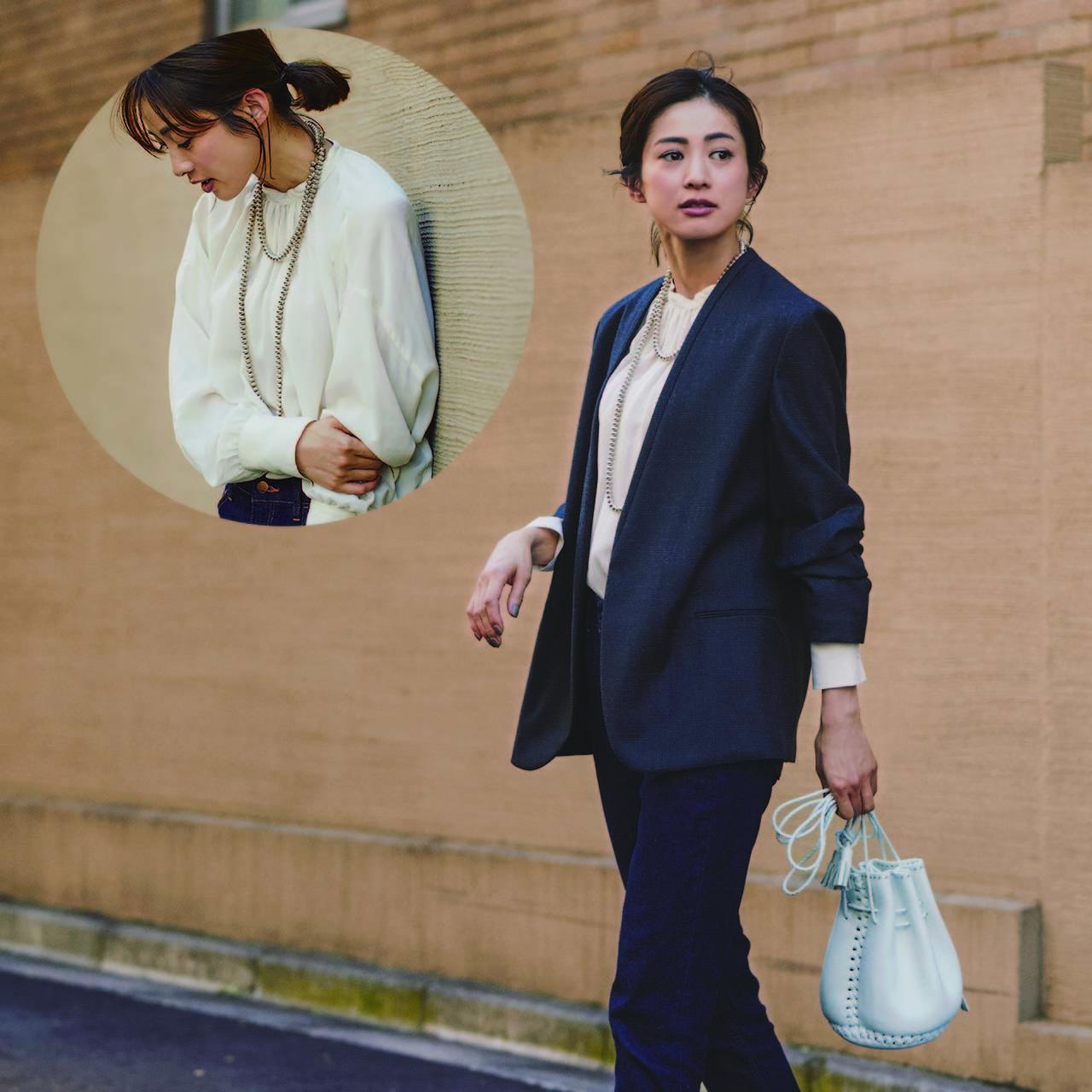 ブラウス×ジャケット×パンツのファッションコーデ