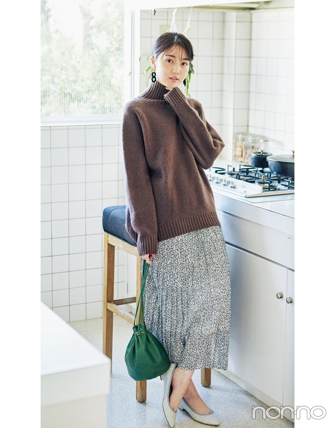 2月~3月の体感寒い日&暖かい日、小花柄スカートはこんなに使える!_1_6