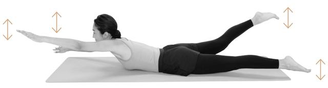 腰を反らさないように注意しながら、両手両足を泳ぐときのように10秒間バタバタと上下に動かす