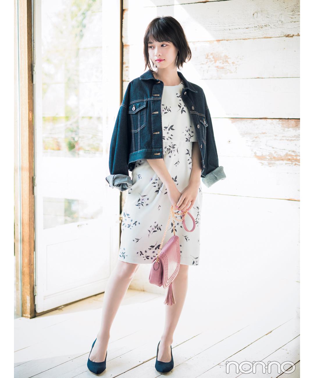 【夏のワンピースコーデ】西野七瀬は、ややタイトなシルエットのワンピースで大人に着こなす!