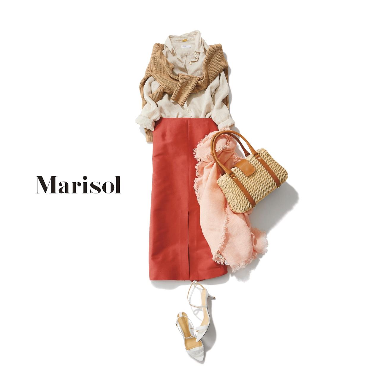 40代ファッション 肩がけニット×ベージュシャツ×きれい色スカートコーデ