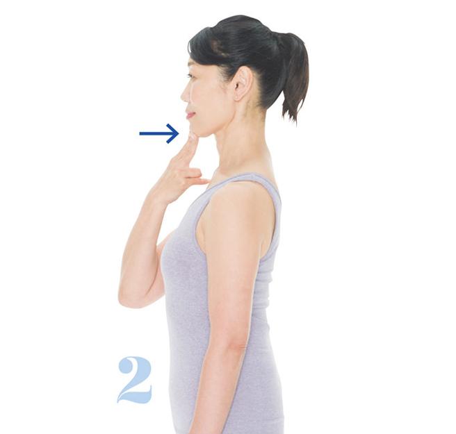 頭を正しい位置に戻す2:あごの位置戻し2