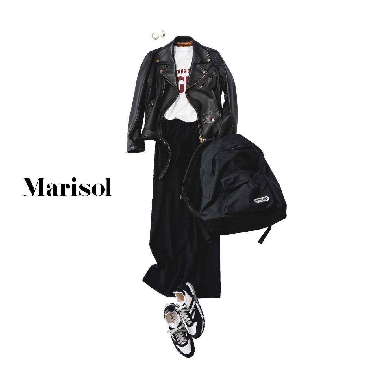 40代ファッション  革ブルゾン×黒パンツコーデ