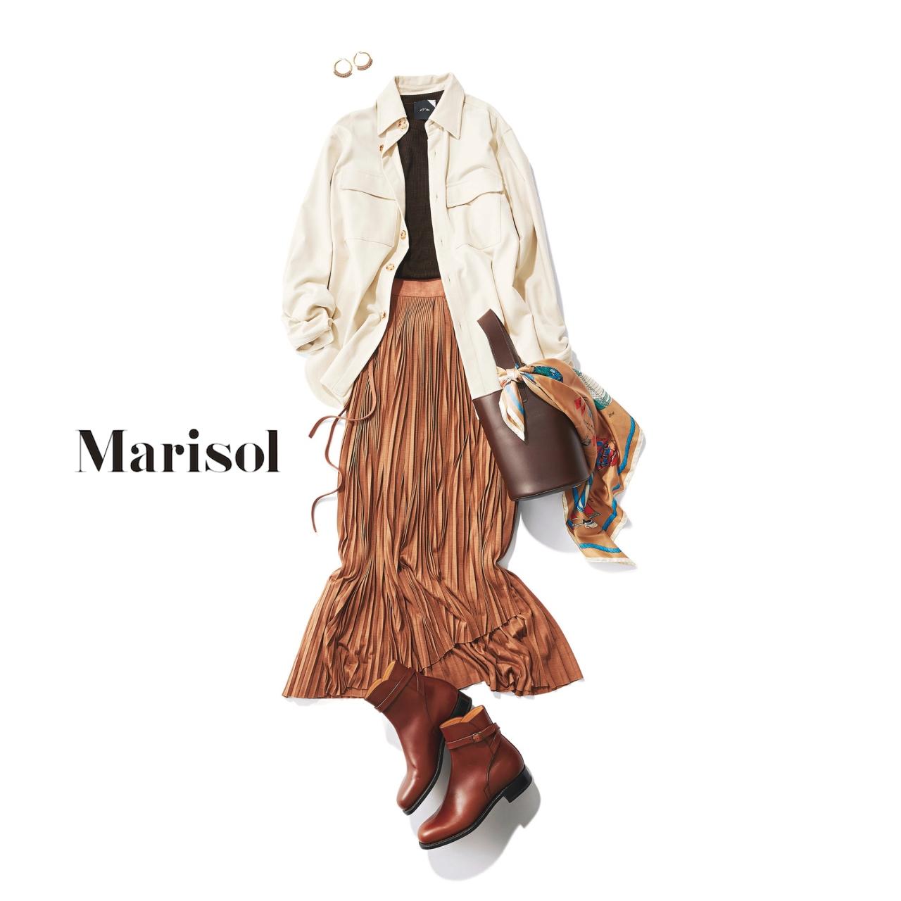 40代ファッション ワークブラウス×プリーツスカートコーデ