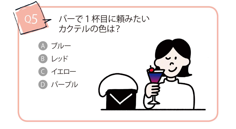 バーで一杯目に頼みたいカクテルの色は?Aブルー Bレッド Cイエロー Dパープル