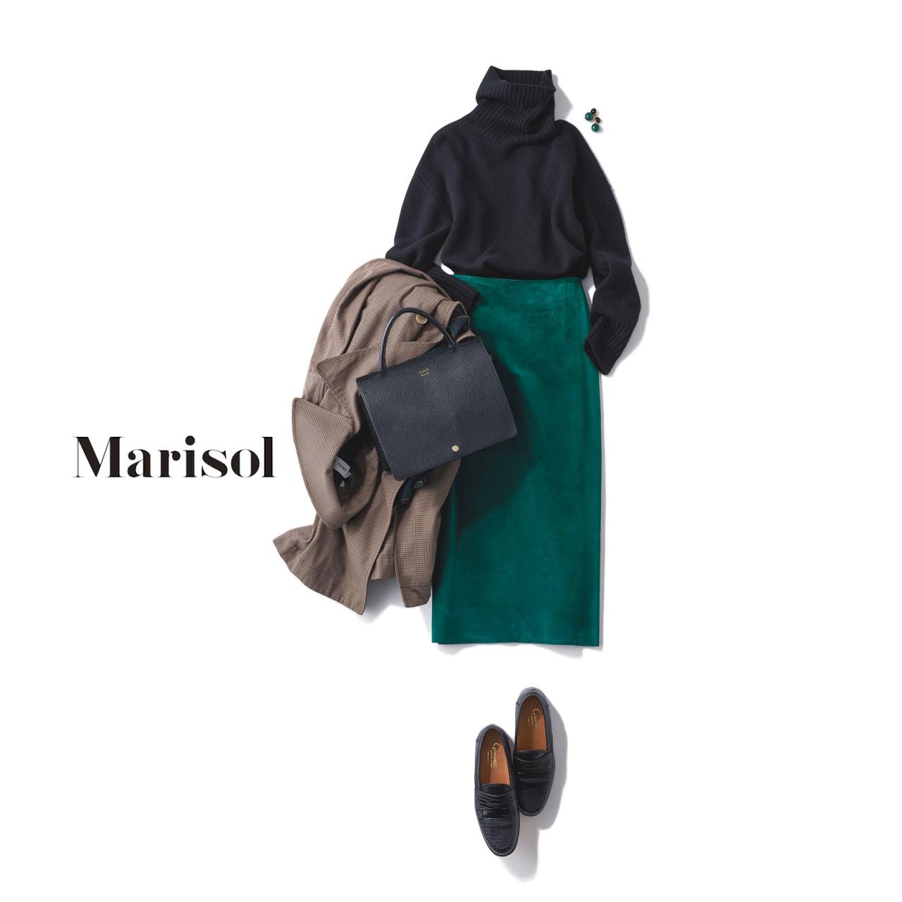 40代ファッション タートルネックニット×グリーンスカートコーデ