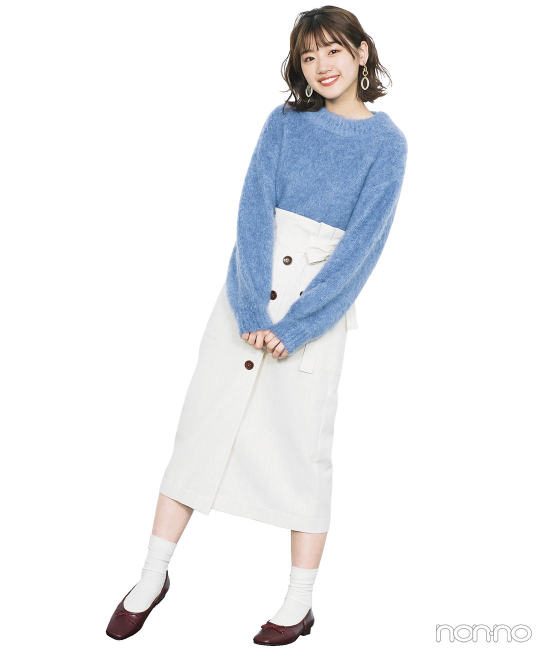 アイスブルーのニットは×白の爽やか配色でモテちゃうコーデに!【毎日コーデ】