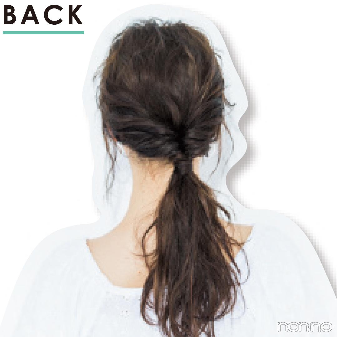 【前髪×ひとつ結びヘアアレンジ図鑑⑪】サイドのくるりんぱで涼しげなモテヘアに_1_4-2