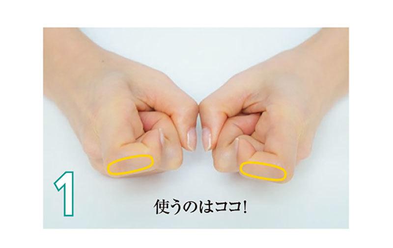 人さし指をかぎ型に曲げ(1)、第一関節と第二関節の間を眉にピタリと押し当てる(2)。