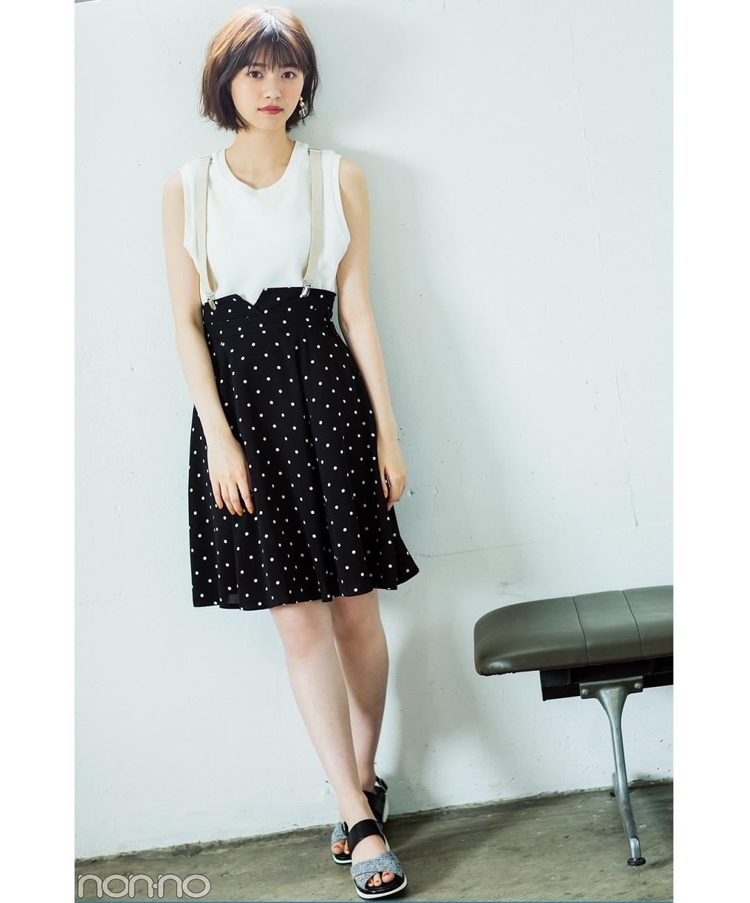 【夏のノースリーブコーデ】西野七瀬は、白ノースリをサスペンダースカートと合わせてレトロ可愛く
