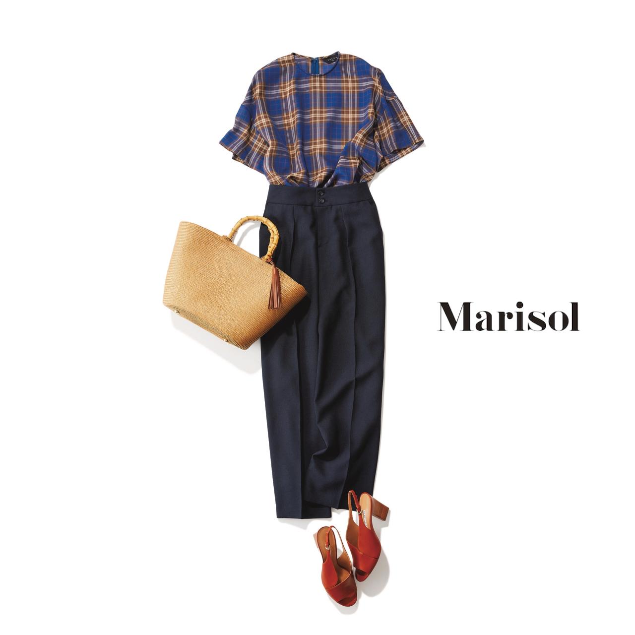 40代ファッション チェック柄トップス×ワイドパンツコーデ