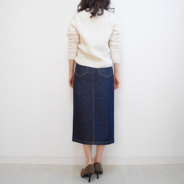 【GU新作】絶対買い!デニムフロントスリットミディスカート_1_6