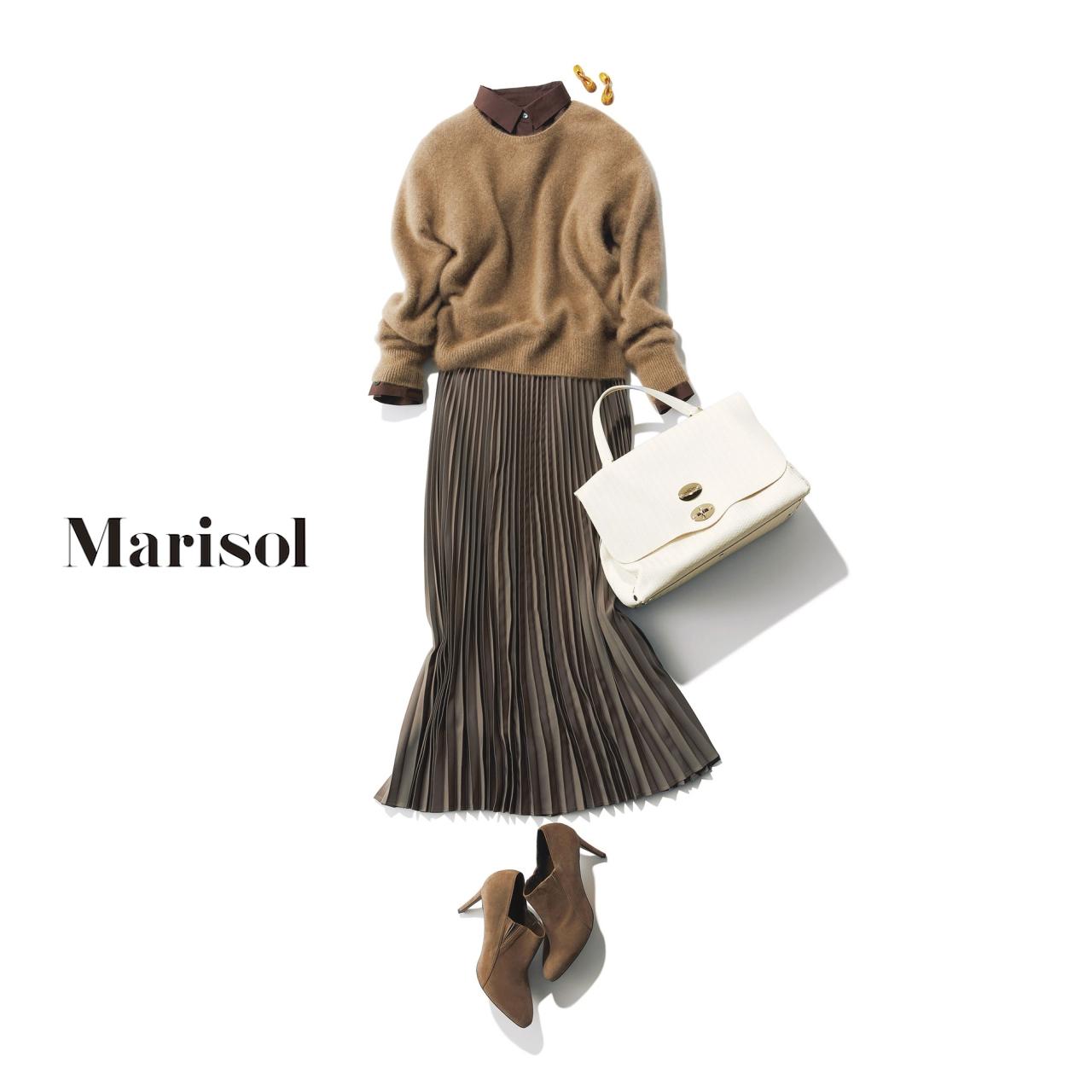 ブラウンニット×プリーツスカートのファッションコーディネート
