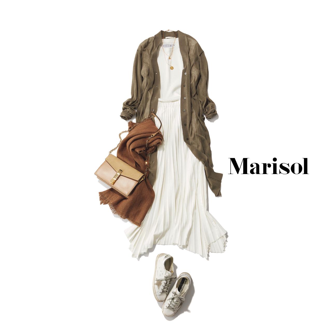 40代ファッション  ロングカーディガン×白インナー×白スカートコーデ