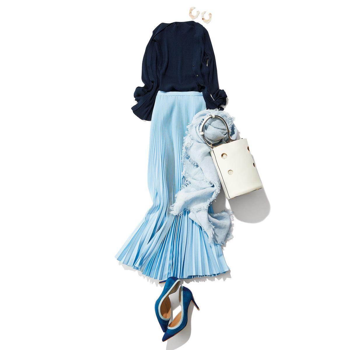 ツインニット×きれい色プリーツスカートの羽織ものコーデ