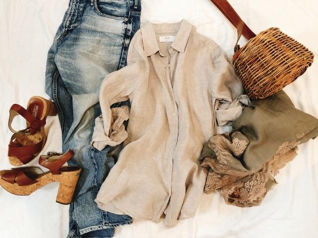私のベージュコーデは、UNIQLO名品リネンシャツ!_1_1
