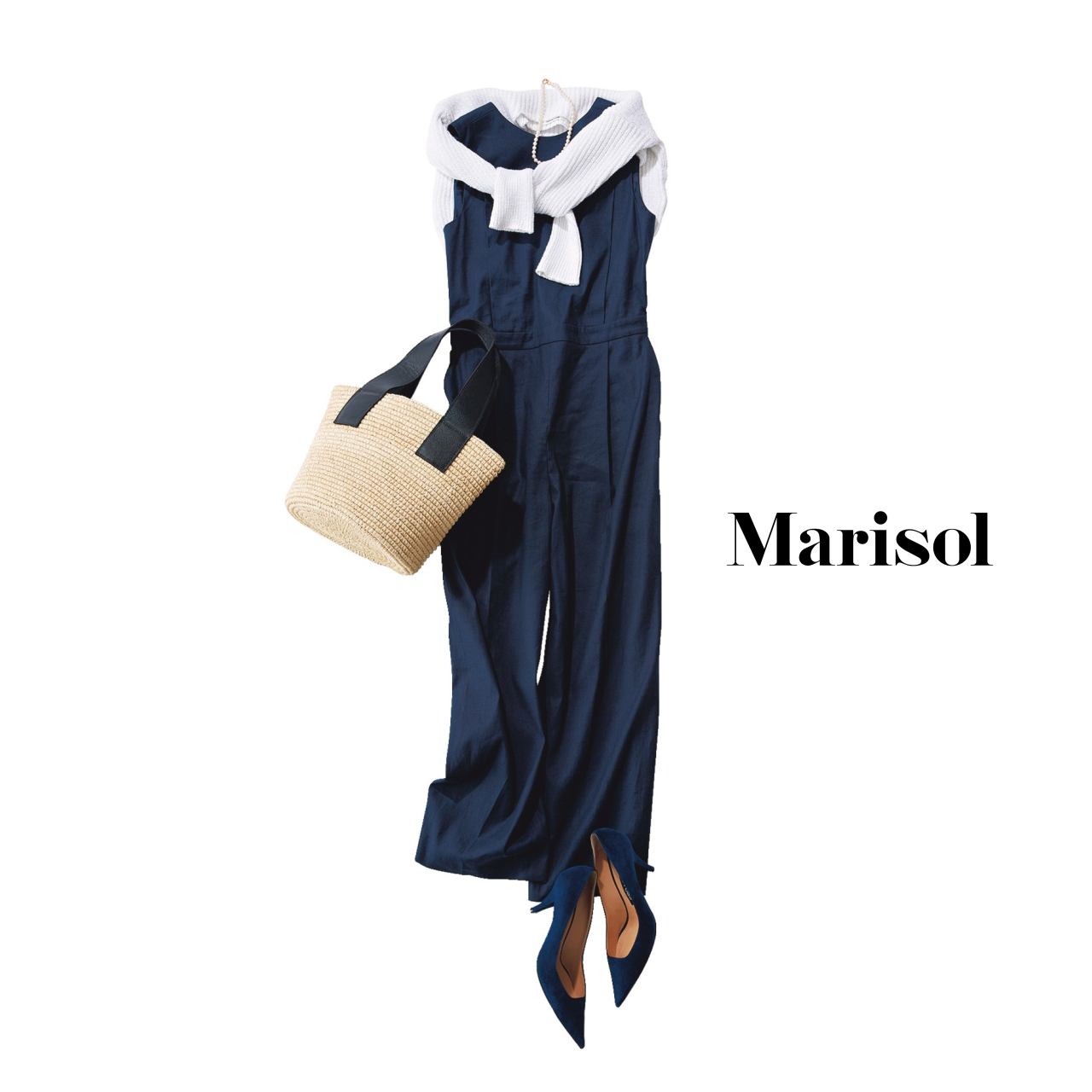 40代ファッション ネイビーオールインワン パンツコーデ