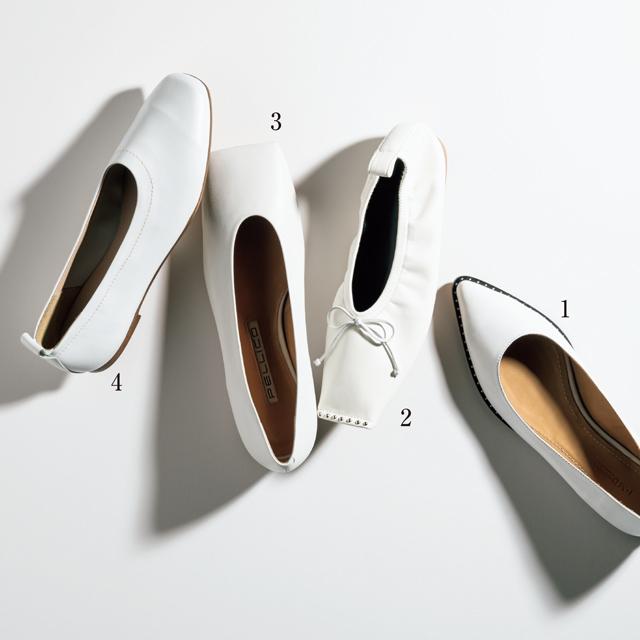 白のフラット靴