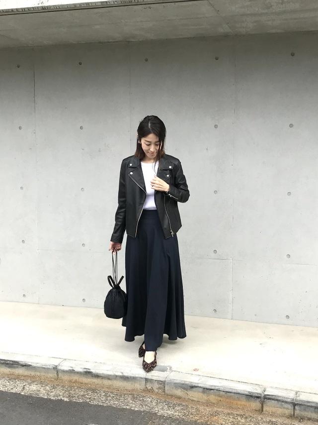 MY定番スタイル!ライダース×揺れスカートの甘辛コーデ_1_2