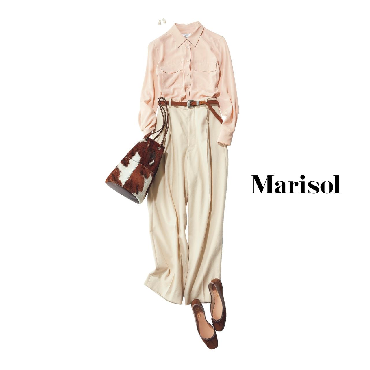 40代ファッション ピンクシャツ×チノパンツコーデ