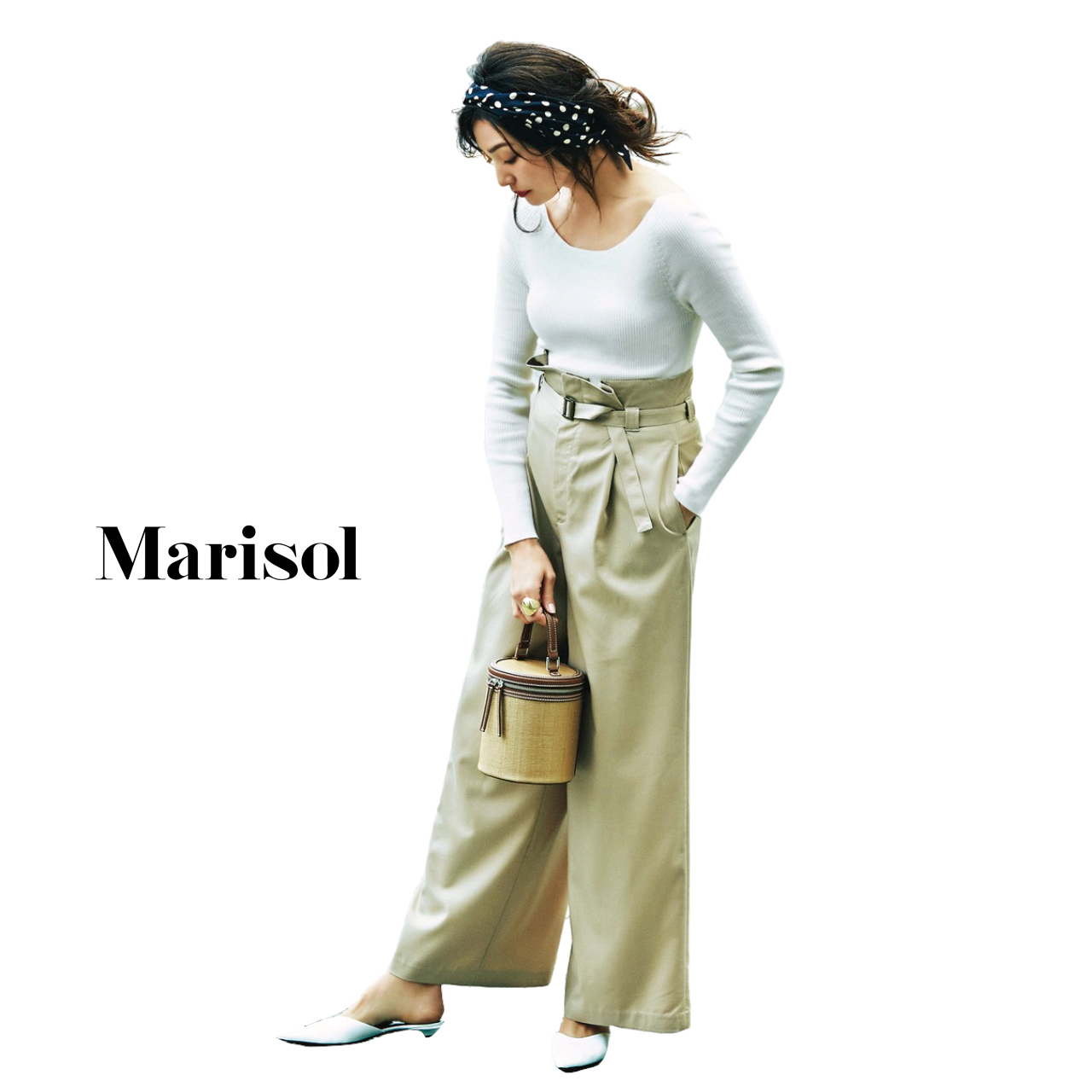 40代ファッション カットソー×ワイドパンツコーデ